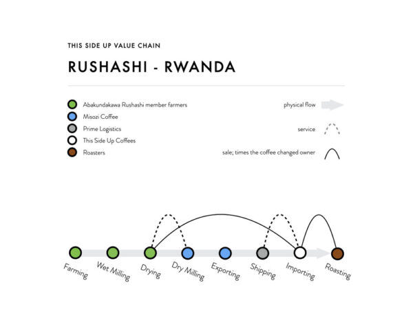 Value Chain Rushashi: by direct trade between Rushashi Farmers and This Side Up Coffee (our importer and quality manager), farmers are able to sell their coffee beans at a higher price.